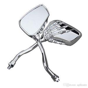 Nouveau gros 1pair UNV Motorcycle Chrome SKELETON Crâne MAIN Claw côté Vue arrière Miroirs 8mm à 10mm MOT_50T HARLEY HONDA SUZUKI YAMAHA