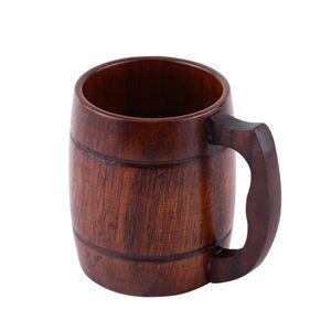 Eco-Friendly 1pc Pratico legno Birra Latte Caffè Tazza da tè Tazza da acqua in legno con manico Bar da casa Bicchieri in legno