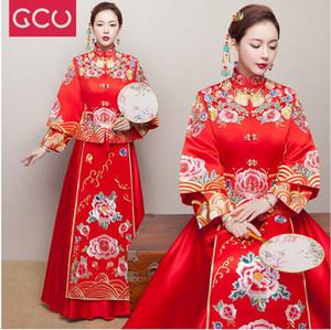붉은 빈티지 중국 기모노 여자 긴 Qipao Cheongsam 웨딩 이브닝 드레스 Cheongsam 중국어 SuZhou 자수 긴 드레스