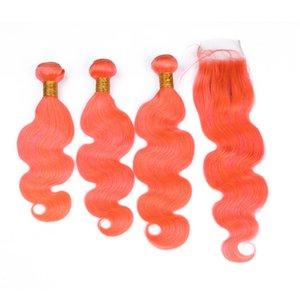 Körperwelle Peruanische Orange Farbige Jungfrau Haareinschlagfäden mit Verschluss 4 Stücke Los Pure Orange Menschliche Haarwebart Bundles mit Vordere Spitzeschliessen 4x4