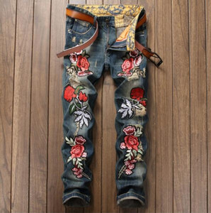 Embroidery Floral Tiger Bird Print Design Mens Ripped Jeans Slim Denim Pencil Pants Hommes Blue Straight Biker Jeans Long Trousers