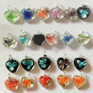 패션 보석 새로운 여러 가지 빛깔의 심장 무라노 Lampwork 유리 펜던트 쥬얼리 액세서리 맞춤 DIY 공예 보석 무료 배송