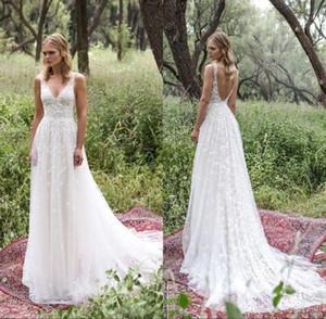 Robes de mariée bohème de plage Vintage Sexy Spaghetti col en v Plis dos nu Full Lace mariage Dresse Robes de mariée