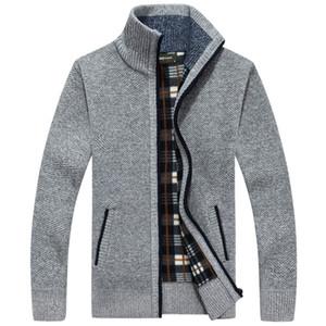 Moda para hombre de lana Cardigan suéteres de los hombres de soporte grueso cuello Jersey coreano completo mangas delgado sólido para hombre suéteres 3XL