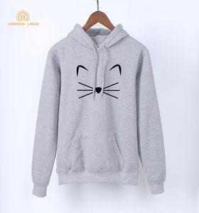 HAMPSON LANQE аниме толстовка Kawaii Kitty Kitten Cat Kpop пуловеры 2018 Весна женщины толстовки серый Harajuku толстовки