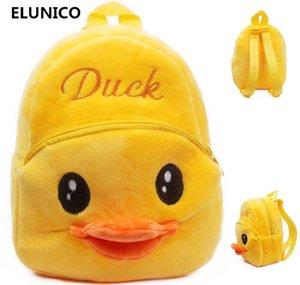 ELUNICO marca nueva tendencia 1-2.5 años lindo bebé niño mochilas de felpa pequeño bolso lindo dibujos animados pato mochila mochila para niños