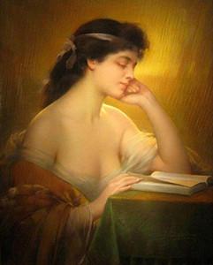 Libro de lectura hermoso de la mujer joven en la tarde debajo de la lámpara Envío libre, pintura al óleo pintada a mano del arte del retrato en la lona Multi tamaños P310