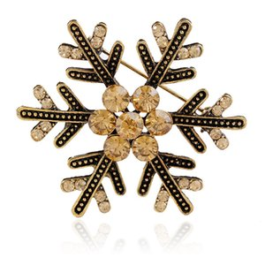 48 pçs / lote Atacado Strass Cristal Floco De Neve Broches Moda Costume Pin Broche de Natal Boutonniere Flor Delicada