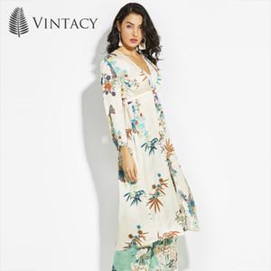 Vintacy 2018 Polyester Plus Size trincheras de primavera Capa de mujer Tops Capas de poncho Poncho frontal abierto Estampado de botones Capas de botones