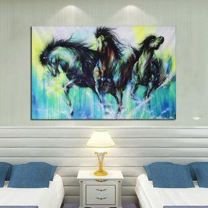 Art mural No Stretched Pas de cadre Abstrait Trois Chevaux Bleus Courir Pure Toile À La Main Animal Equine peinture à l'huile Art Home Decor