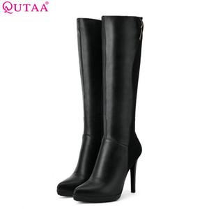 QUTAA 2018 donne stivali tacco alto nero elegante sottile tacco alto punta a punta pu e scrub stivali da donna in pelle Szie 34-39