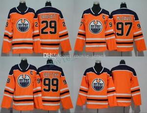 Hommes Femmes Jeunes enfants Edmonton Oilers 99 Wayne Gretzky 29 Leon Daisaitl 97 Connor McDavid Orange Jerseys Tous les Jersey Hockey Jersey Garçon