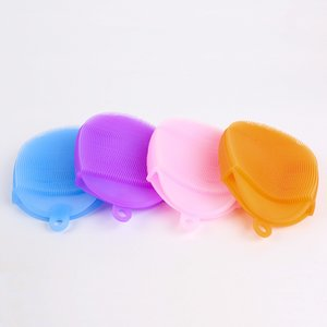 Silicone Dish Bowl Cleaning Brushes Scouring Pad Pot Pan Brushes Cleaner Kitchen Accessories Dish Washing Brush Kitchen Tool T2I169