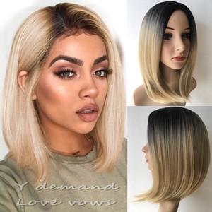 Moda sintetica Afro Wigs BOB Breve tagli di capelli dritti biondi Cosplay naturale per le donne nere parrucche piene parrucca celebrità all'ingrosso