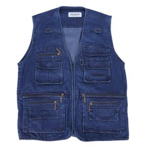 Cotton Denim Vest Men Cotton Sleeveless Jacken Blue Casual Vests Mann mittleren Alters mit vielen Taschen Plus Size 10XL Weste