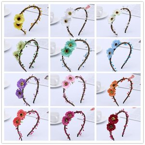 bohemian terylene flower headband garland crown festival wedding bride bridesmaid hair wreath BOHO floral hair accessories beach crown