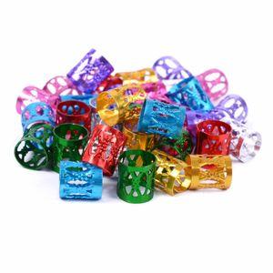 100 Pçs / saco Colorido Trança de Cabelo Beads Cabelo Trança Tubo Anéis Cuff Styling Decoração Ferramentas Cabelo Trança Dreadlock Acessórios
