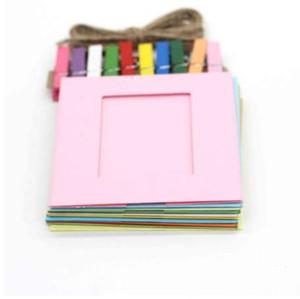 حديثا تصميم 10 قطعة / الوحدة diy إطارات الصور ورقة الإطار الصلبة الملونة ديكورات المنزل July29