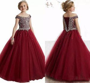 2020 nouveau chaud Bourgogne rouge Teal princesse filles Pageant robes Scoop perles de cristal Tulle Puffy enfants fête d'anniversaire robes robes de filles de fleur