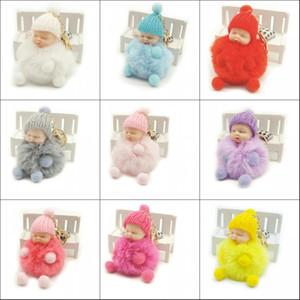 Uyku Bebek Bebek Anahtarlık ayak el bebek Ponpon Tavşan Kürk Anahtarlık Araba Anahtarlık Anahtarlık Charm takı kadınlar için