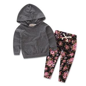 2pcs Infante recém-nascido bebés Roupa manga comprida com capuz cobre a camisa Brasão + calças florais Outfits Bebek Roupa Set