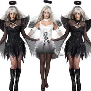New Black Devil Dark Fallen Angel Costume com Asa Sexy Adulto Cosplay Exótico Vestuário Traje de Halloween para As Mulheres