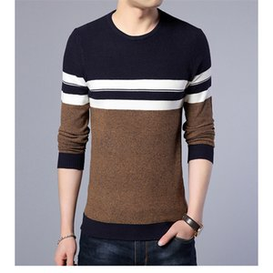 Men's Sweaters 2021 Casual Sweater O-neck Striped Slim Fit Knit And Men