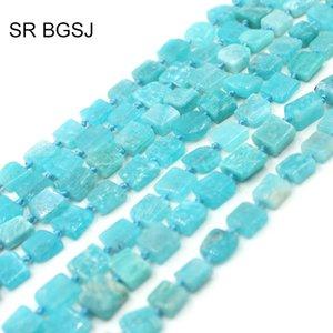 """Nave libre 10-12mm cuadrada de la joyería natural puro Amazonita Gemas Naturales Piedra Haciendo Beads 15"""""""