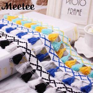 Meetee colorido fio de algodão guarnição do laço para diy roupas cortina de renda borla fringe sofá toalha de mesa decoração acessórios de costura