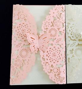 20 pieces Laser Cutout Engraving Invitation card Cute Flower Butterfly European Wedding Postca