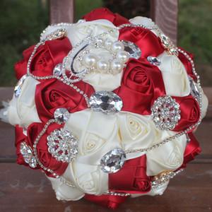 18 CM Lüks Köpüklü Kristal Gelin Tutan Çiçekler Parlak Elmas Broş Inci Düğün Buket Karışık Renk Saten Gül Nedime Buket