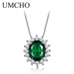 UMCHO oval 8 * 10 mm de piedras preciosas esmeralda colgante de plata de ley 925 Ncklaces para las mujeres madres regalo del día de joyería fina con cadena