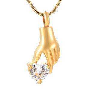 IJD9231 Crémation En Acier Inoxydable Or Main Cendres Urne Tenir Blanc Cristal Coeur Souvenir Pendentif Collier Charme Bijoux