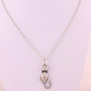 La nueva llegada de plata antiguo del cristal plateado del amor del gato Charm colgante con cadena de acoplamiento del collar de la joyería animal