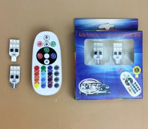 T10 Car LED Wide Light Seven Colors Remote Control RGB Marker Light Parking Lights Slide Traffic Light 5050-12SMD Indicator Lights 100PCS