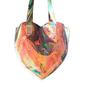 Moda Lazer Şeffaf çanta Kalp şekli Hologram büyük tote çanta rahat kadın omuz çantaları gökkuşağı debriyaj bolsa