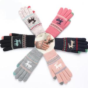 Reindeer gestrickte Handschuhe Damen Herren Weihnachten Touch Screen Handschuhe Winter Radfahren Außen Sport Finger Handschuh-Partei-Bevorzugung DHL HH7-1860