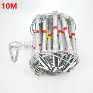 Scala antincendio 10M 33FT Pieghevole in acciaio a fune Scale in lega di alluminio Emergenza Sopravvivenza Salvataggio Sicurezza Antiscivolo Strumenti