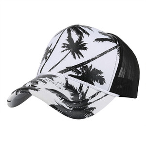 Feitong Hip hop mesh baseball cap Men women coconut tree print snapback caps Unisex adjustable outdoor streetwear trucker hat