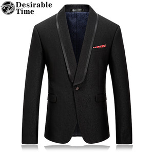Men Black Blazer Jacket Slim Fit Style Fashion Brand Stage Clothing Shawl Collar Mens Casual Prom Blazers DT039