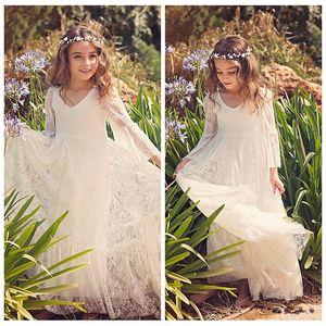 2021 Venda barato Flower Lace personalizado Vestidos menina Branco Marfim Boho Primeira Comunhão vestido para a menina V-Neck Formal Wear aniversário de criança