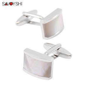 SAVOYSHI Boutons de manchette pour hommes Chemise de luxe Seashells Pierre manchette de boutons de manchette blanc de haute qualité Designer Bijoux en gros de la marque
