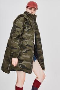 Veste en duvet d'hiver à capuche pour femmes INS Fashion Camouflage Longs