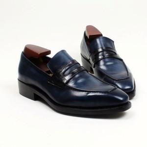 Männer Kleid Schuhe Loafers Schuh Custom Handmade Schuh Karree Slip-on atmungsaktiv echtes Kalbsleder LF-013