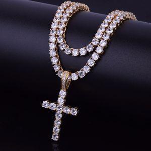 Ледяной Циркон крест кулон с 4 мм теннис цепи ожерелье мужской хип-хоп ювелирные изделия золото серебро CZ кулон ожерелье набор