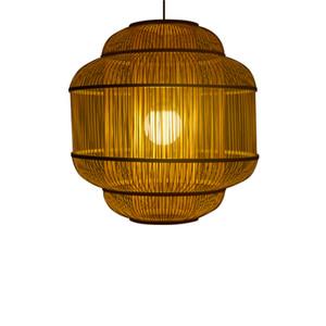 Lámparas colgantes de Bamboo Weaving LED Tres capas de bambú colgantes de luz colgante Lámpara colgante Coffee Bar iluminación del hogar Craft G041