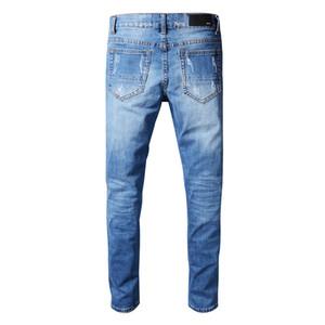 Nuevos jeans ajustados para hombres Jeans rasgados Jeans Motociclista Pantalones de mezclilla Hombres Marca Diseñador de moda Hip Hop Hombres Jeans Azul claro
