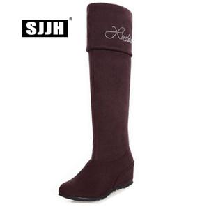 SJJH Mujeres Botas de montar largas con punta redonda La altura del pie aumenta las botas sobre la rodilla Zapatos casuales de moda de gran tamaño Q399