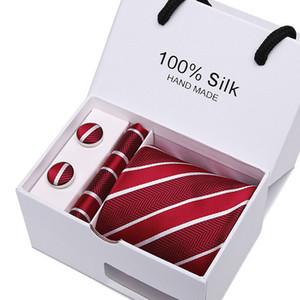 HOT Neck 넥타이 세트 + 손수건 + 커프스 단추 넥타이 크리스마스 선물 남성 비즈니스 넥타이 선물 아버지 날 선물 상자 21 색