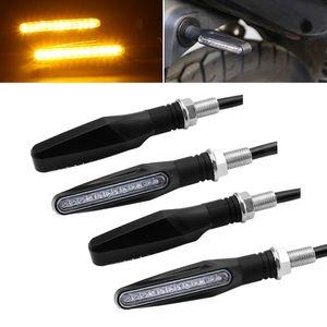 2X Motocicleta Turn Signal Luz Flexível LED Moto Sinais de Luz Indicadores Blinker Universal Âmbar Flashers